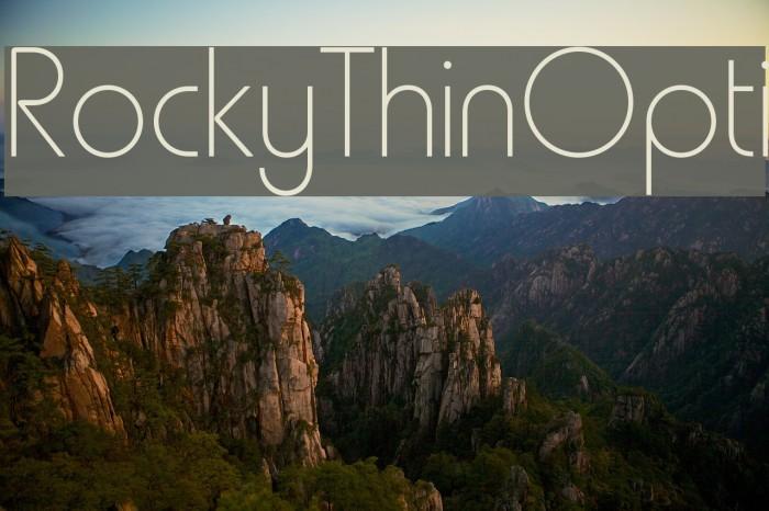 RockyThinOpti Font examples