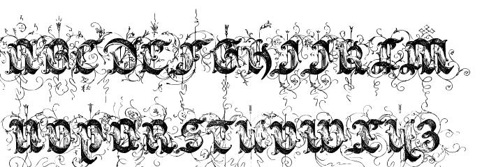 Saraband Initials Font UPPERCASE