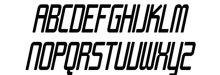 SF Chrome Fenders Condensed Oblique Font UPPERCASE