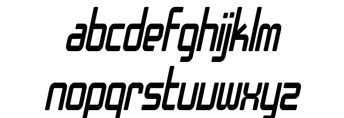SF Chrome Fenders Condensed Oblique Font LOWERCASE