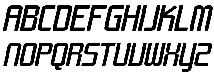 SF Chrome Fenders Extended Oblique Font UPPERCASE