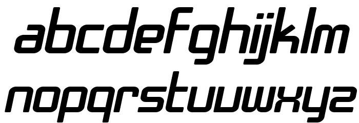 SF Chrome Fenders Extended Oblique Font LOWERCASE