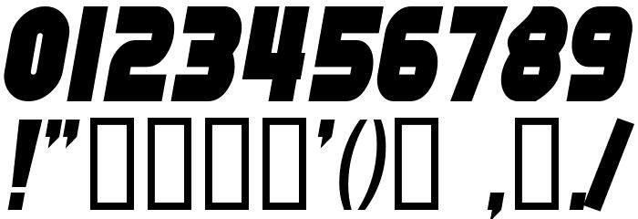 SF Fortune Wheel Condensed Italic Шрифта ДРУГИЕ символов