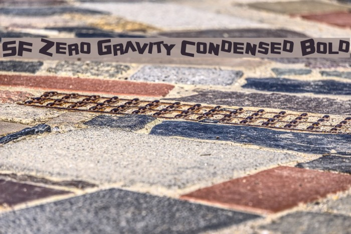 SF Zero Gravity Condensed Bold Font examples