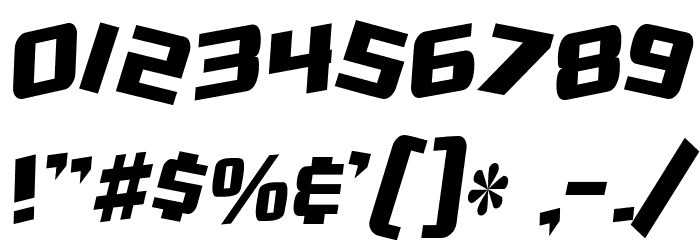 SF Zero Gravity Condensed Italic Font OTHER CHARS
