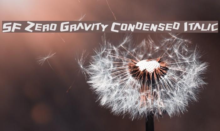 SF Zero Gravity Condensed Italic Font examples