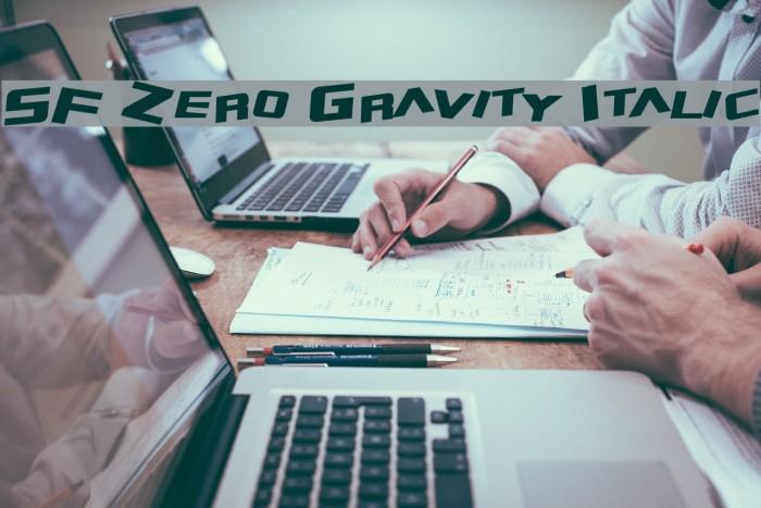 SF Zero Gravity Italic Font examples