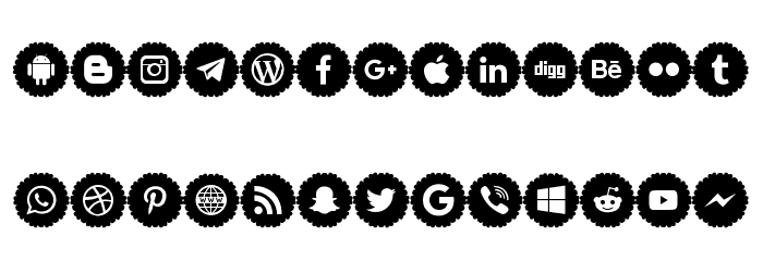 Social Icons Pro 2019 Font LOWERCASE