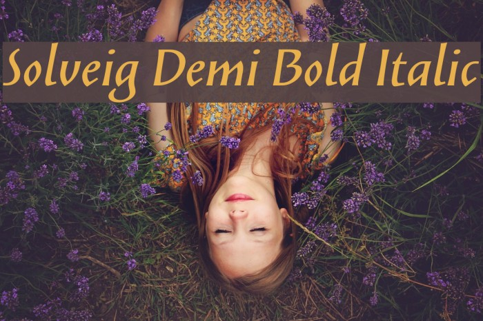 Solveig Demi Bold Italic Fonte examples
