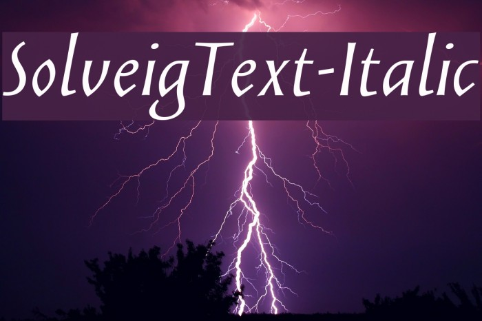 SolveigText-Italic Fonte examples