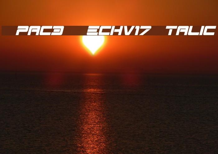 Spac3-Techv17-Italic Schriftart examples