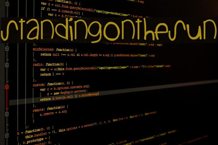 StandingOnTheSun Font examples
