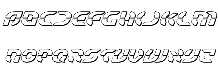 Starfighter Bold 3D Italic Font LOWERCASE