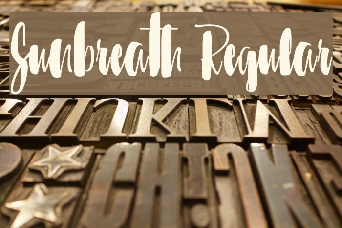 Sunbreath Regular Font examples
