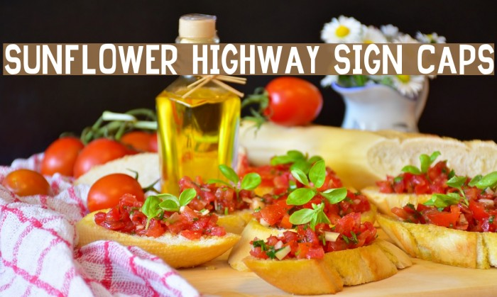 Sunflower Highway Sign Caps Font examples