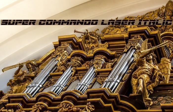 Super Commando Laser Italic फ़ॉन्ट examples