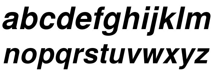 TeXGyreHeros-BoldItalic Font Litere mici