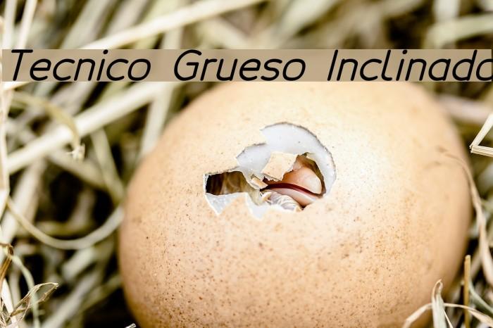 Tecnico Grueso Inclinado Schriftart examples