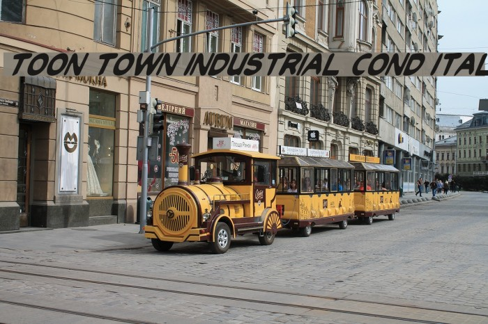 Toon Town Industrial Cond Ital Шрифта examples