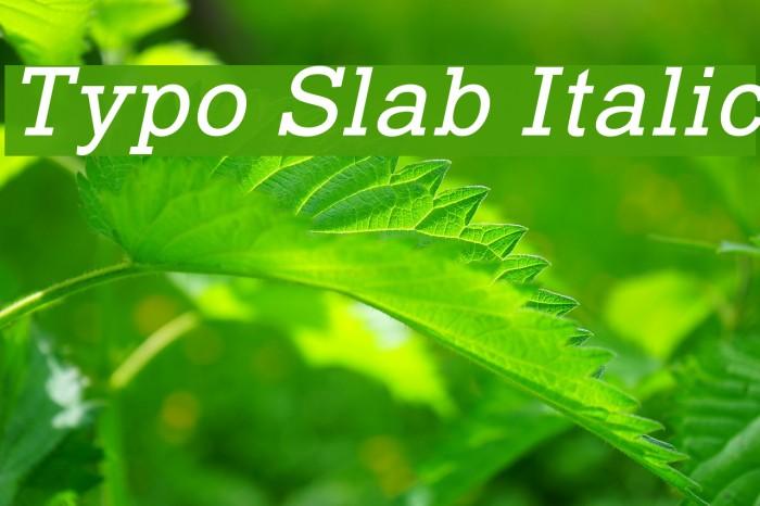 Typo Slab Italic फ़ॉन्ट examples