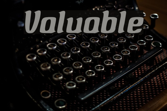 Valuable Font examples