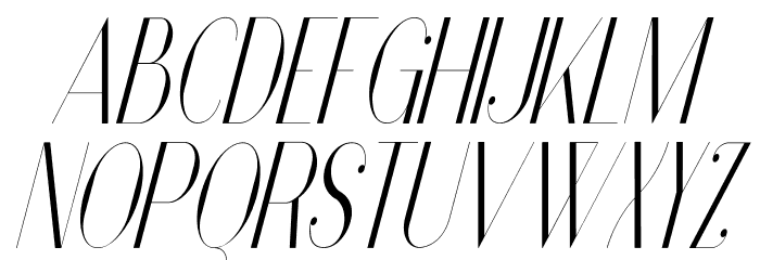 Vanity-LightNarrowItalic Font UPPERCASE
