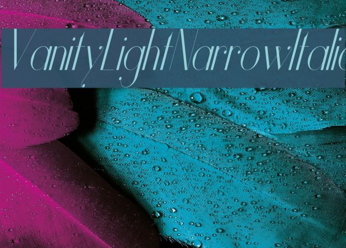 Vanity-LightNarrowItalic Font examples