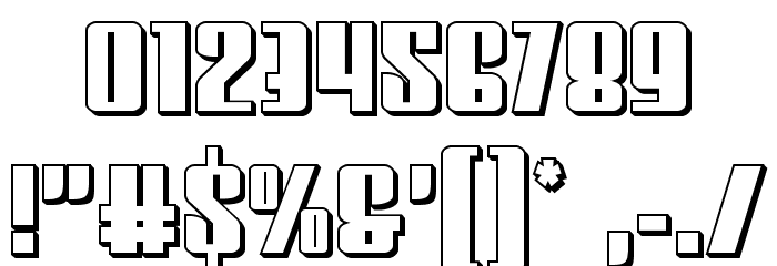 Vindicator 3D Font OTHER CHARS