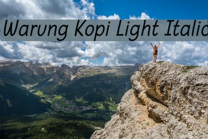 Warung Kopi Light Italic Шрифта examples