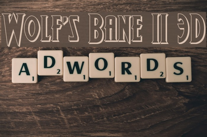 Wolf's Bane II 3D Font examples