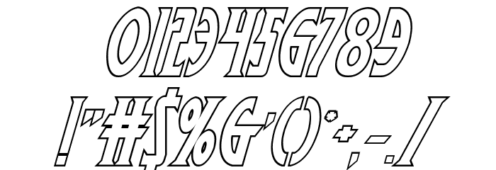 Wolf's Bane II Outline Italic Font OTHER CHARS