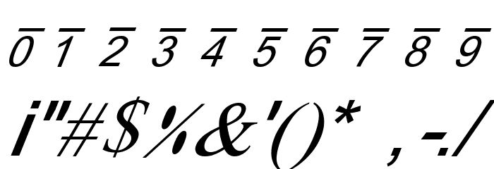 X-Cryption Italic Font OTHER CHARS
