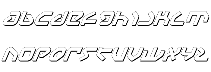 Yahren Shadow Italic Font LOWERCASE