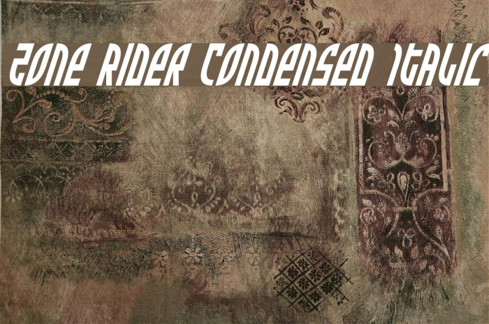Zone Rider Condensed Italic Fonte examples